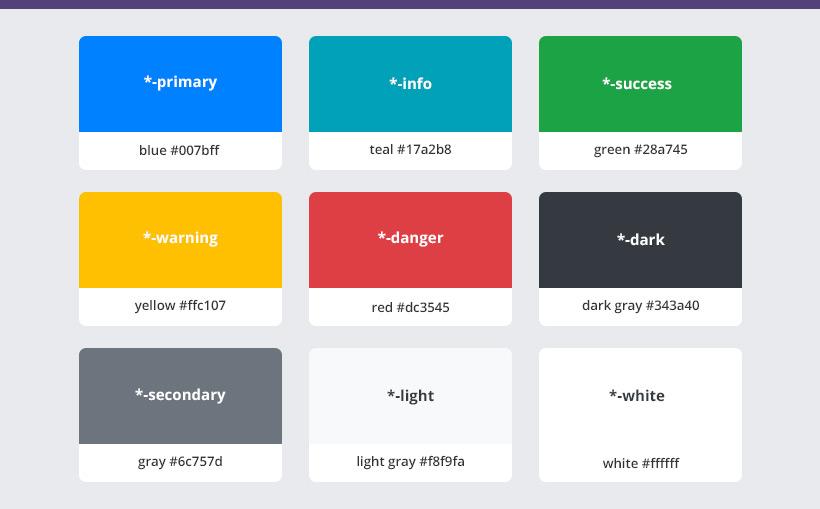 bootstrap 4 renk kodları